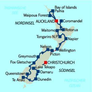 Mietwagen-Rundreise 22 Nächte ab Christchurch/ bis Auckland